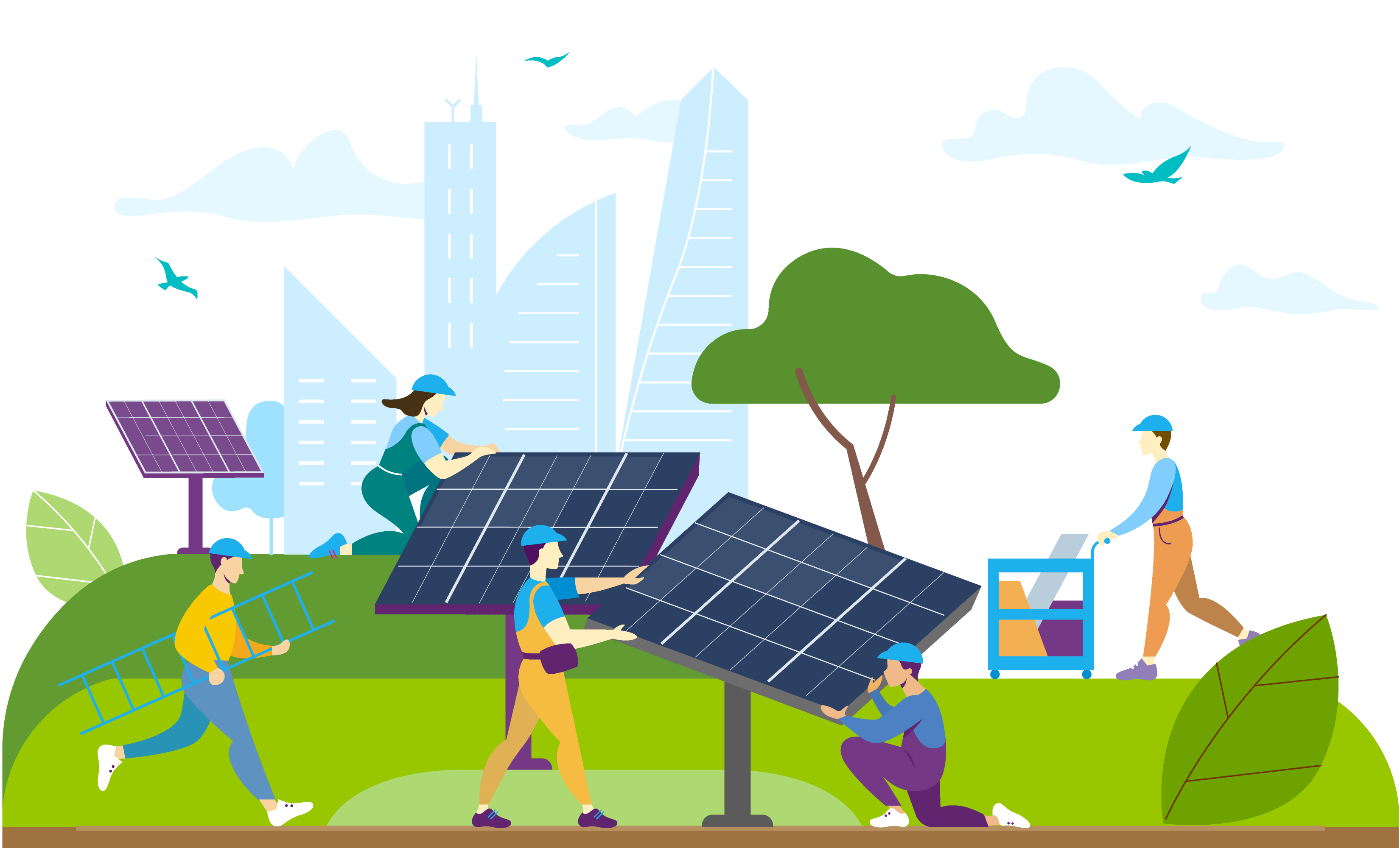 Workers installing ecological energy generators. Flat vector illustration